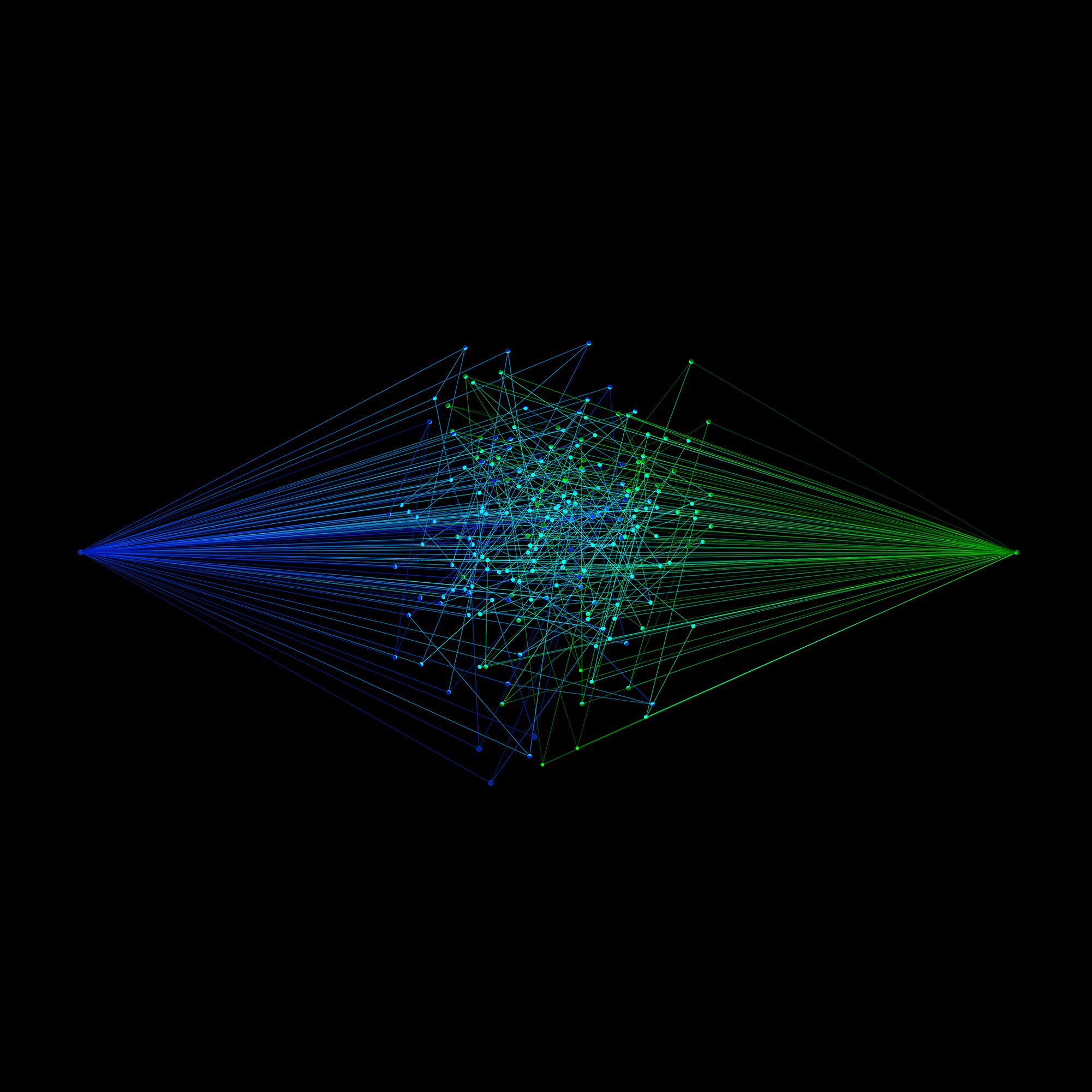 A green and a blue node connecting