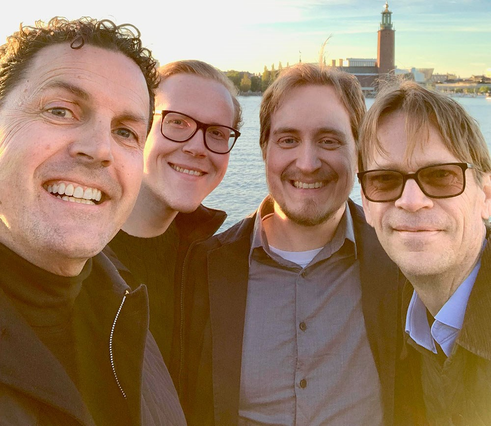 At Södermälarstrand. From left to right: Heiner, Jakob, Marcus and Peter
